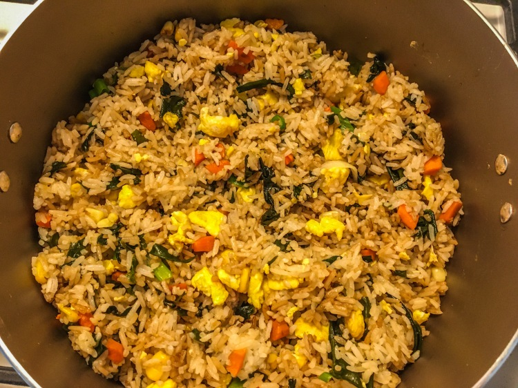 Seaweed Fried Rice In Non-Stick Pot